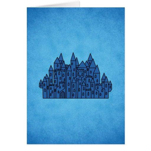 Castillo azul tarjeta de felicitación