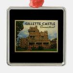 Castillo Connecticut de Gillette Adorno Navideño Cuadrado De Metal