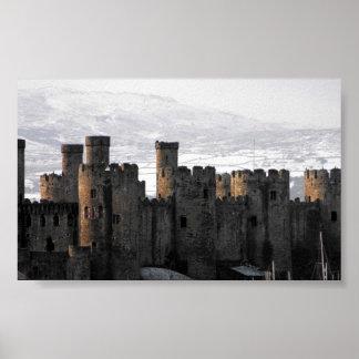 castillo conwy en nieve impresiones