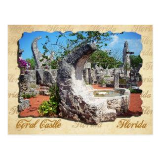 Castillo coralino, la Florida - fuente de la luna Tarjeta Postal