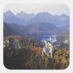 Castillo de Alemania, Baviera, Neuschwanstein. Rey Pegatina Cuadrada