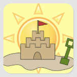 Castillo de arena soleado colcomanias cuadradass