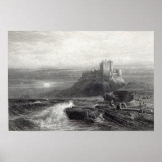 Castillo de Bamborough, grabado por S. Bradshaw Póster