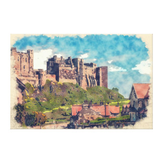 "Castillo de Bamburgh, acuarela 36"" x 24"" lona Lona Envuelta Para Galerias"