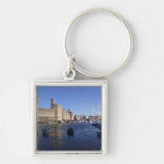 Castillo de Caernarfon, Gwynedd, País de Gales 2 Llavero Cuadrado Plateado