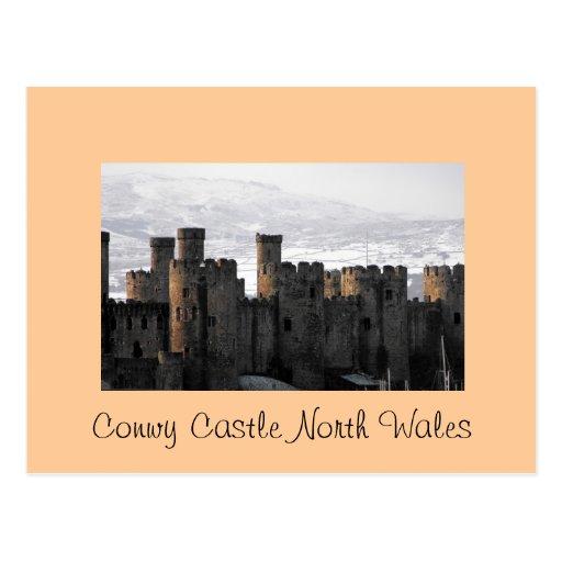 Castillo de Conwy en nieve Tarjeta Postal