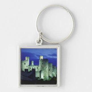 Castillo de Conwy, Gwynedd, País de Gales Llavero Cuadrado Plateado