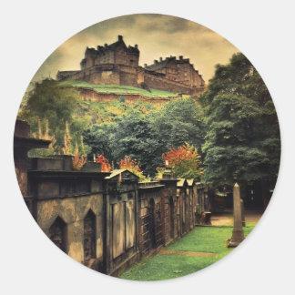 Castillo de Edimburgo - estilo antiguo Pegatina Redonda