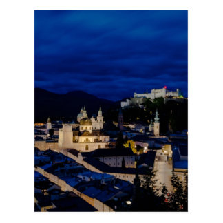 Castillo de Festung Hohensalzburg en la oscuridad Tarjetas Postales
