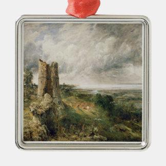 Castillo de Hadleigh, 1829 (aceite en lona) Adorno Cuadrado Plateado