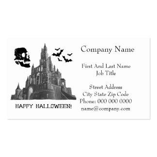 Castillo de Halloween con el cráneo y el palo Tarjetas De Visita
