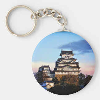 Castillo de Himeji en la salida del sol Llavero Redondo Tipo Pin