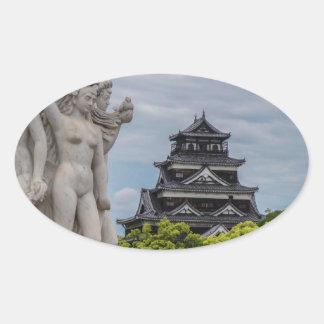 Castillo de Hiroshima Calcomanía Ovalada