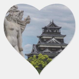 Castillo de Hiroshima Calcomanías Corazones