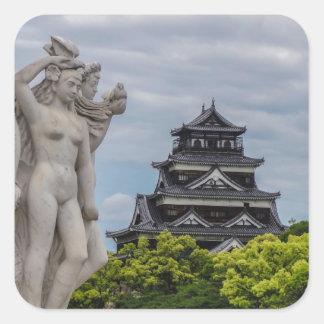 Castillo de Hiroshima Calcomanía Cuadrada Personalizada