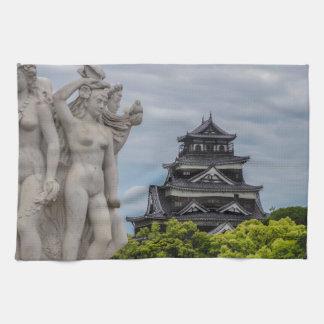 Castillo de Hiroshima Toallas De Cocina