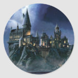 Castillo de Hogwarts en la noche Etiqueta Redonda
