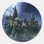 Castillo de Hogwarts en la noche Pegatina Redonda
