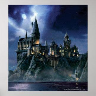 Castillo de Hogwarts en la noche Póster