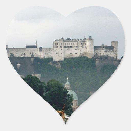 Castillo de Hohensalzburg, Salzburg Pegatina En Forma De Corazón