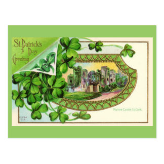Castillo de Irlanda del vintage del día de St Patr Tarjeta Postal