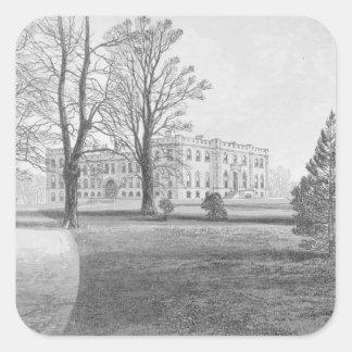 Castillo de Kimbolton, 1880 Calcomania Cuadradas Personalizadas