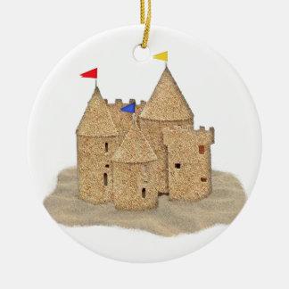 Castillo de la arena adorno navideño redondo de cerámica