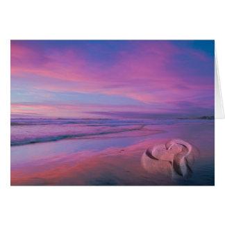 Castillo de la arena del amor tarjeta de felicitación