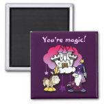 Castillo de la fantasía con el mago y el unicornio imán de nevera
