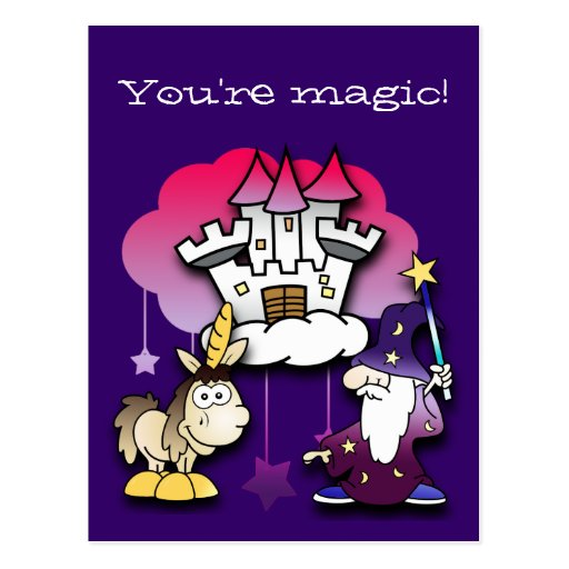 Castillo de la fantasía con el mago y el unicornio tarjeta postal