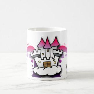 Castillo de la fantasía con el mago y el unicornio tazas de café