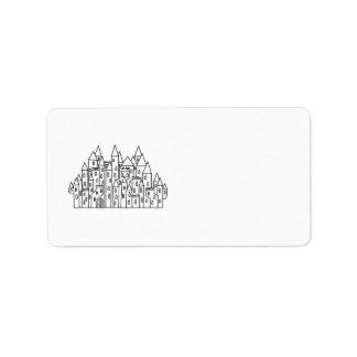 Castillo de la fantasía etiquetas de dirección