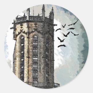 Castillo de la fantasía pegatina redonda