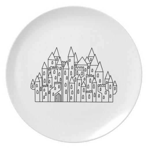 Castillo de la fantasía platos para fiestas