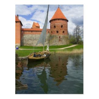 Castillo de la isla por el lago Galve, Trakai, Tarjeta Postal