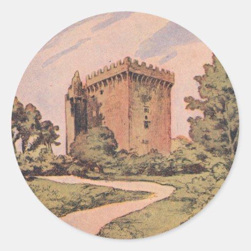 Castillo de la lisonja del vintage etiquetas redondas