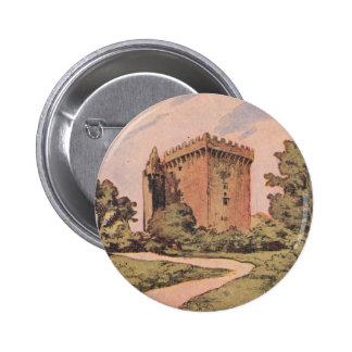 Castillo de la lisonja del vintage pin redondo de 2 pulgadas