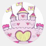 Castillo de la princesa etiquetas redondas