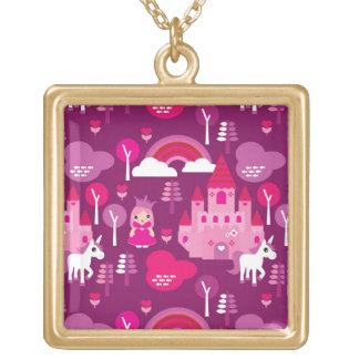 castillo de la princesa y arco iris del unicornio colgante cuadrado