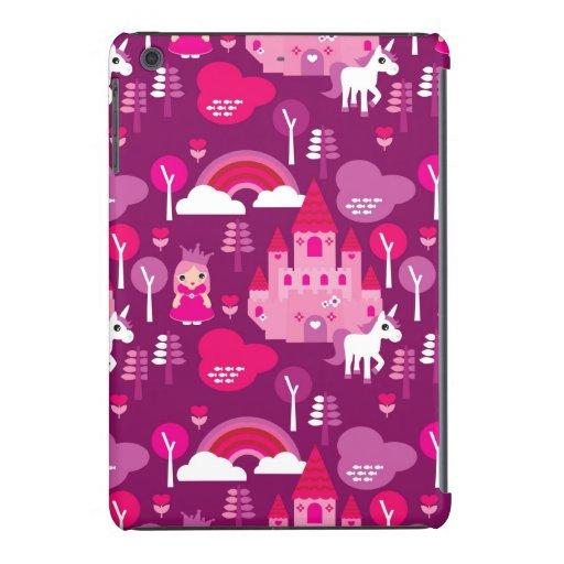 castillo de la princesa y arco iris del unicornio funda para iPad mini
