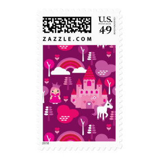 castillo de la princesa y arco iris del unicornio timbres postales
