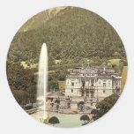 Castillo de Linderhof, vintage P de Baviera Pegatinas Redondas