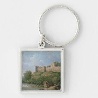Castillo de Ludlow Llavero Cuadrado Plateado