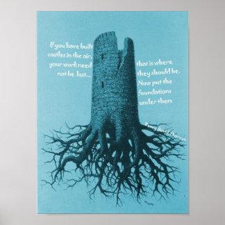 Castillo de motivación de Thoreau del poster en el