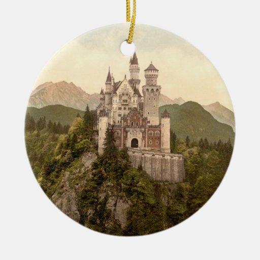 Castillo de Neuschwanstein, Baviera, Alemania Adorno Navideño Redondo De Cerámica
