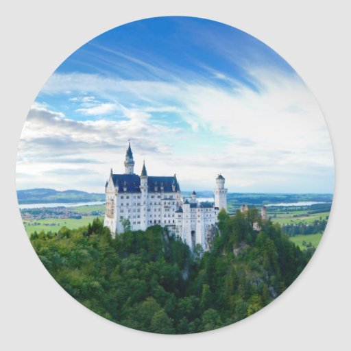 Castillo de Neuschwanstein Pegatina Redonda