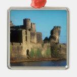 Castillo de País de Gales - de Caerphilly, con Adorno Navideño Cuadrado De Metal