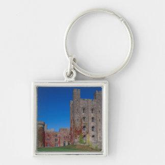 Castillo de Penrhyn, Gwynedd, País de Gales 2 Llavero Cuadrado Plateado