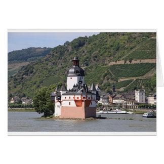 Castillo de Pfalzgrafstein, el río Rhine, Alemania Tarjeta De Felicitación