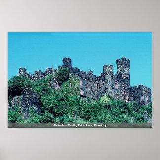 Castillo de Rheinstein el río Rhine Alemania Poster